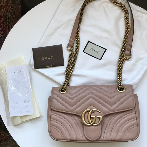 8170a716acb Gucci Handbags - GUCCI GG Marmont small matelassé shoulder bag Nude